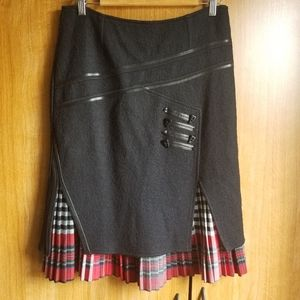 Guzella Wool Blend Asymmetric Pleated Tartan Skirt